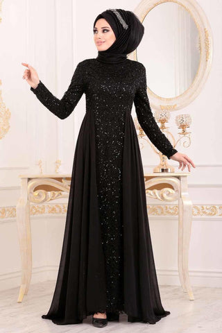 Sequined Black Evening Dress