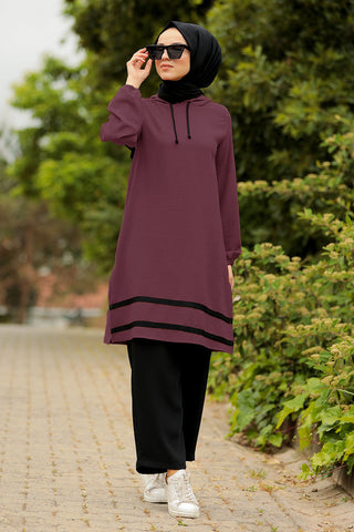 Striped Maroon Modest Tunic & Black Pants Set