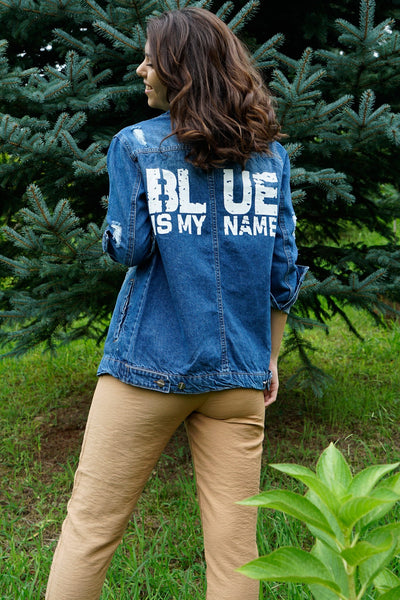 Back Printed Ripped Denim Jacket