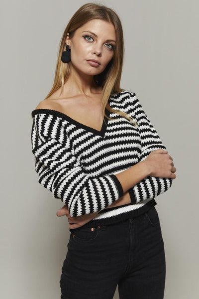 Women's V Neck Striped Black - Ecru Sweater