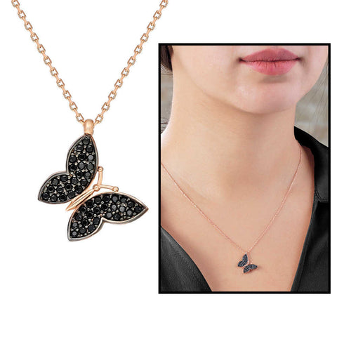 Black Zircon Gemmed Butterfly Pendant 925 Carat Silver Necklace - 2102