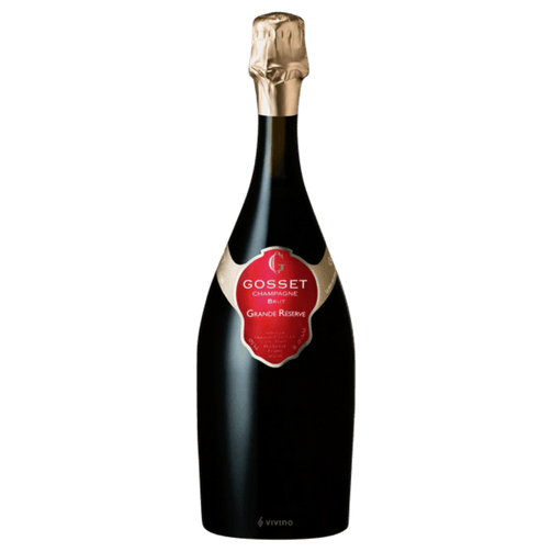 Gosset Grande Reserve Brut - Champagne: (43% Chardonnay, 42% Pinot Noir and 15% Pinot Meunier; 8 g/l dosage; L318 9123): Pale gold. Expansive, mineral-driven citrus and orchard fruit scents are complemented by anise, honey, and buttered toast, along with a hint of a peach pit. Packs a solid punch but comes off lithe and precise, with mineral-laced blood orange and quince flavors and a deeper suggestion of fresh fig. Closes on a spicy note, with repeating minerality and very good persistence.