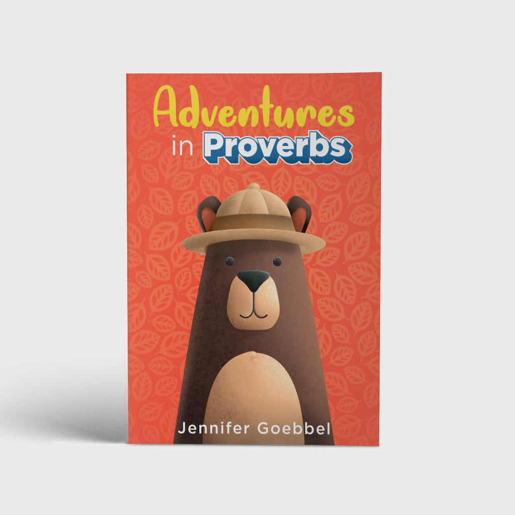 Adventures in Proverbs new family Bible study from author Jennifer Goebbel with brown bear wearinga  safari hat on a bright orange background