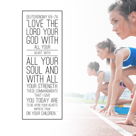 Young women running track on starting line with uplifting bible verse on the left