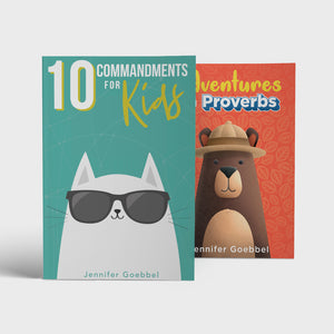 Open image in slideshow, 10 Commandments for Kids and Adventures in Proverbs family Bible study books by author Jennifer Goebbel