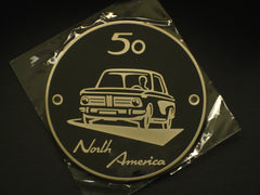Metal Badge '50 Year' North America BMW 2002