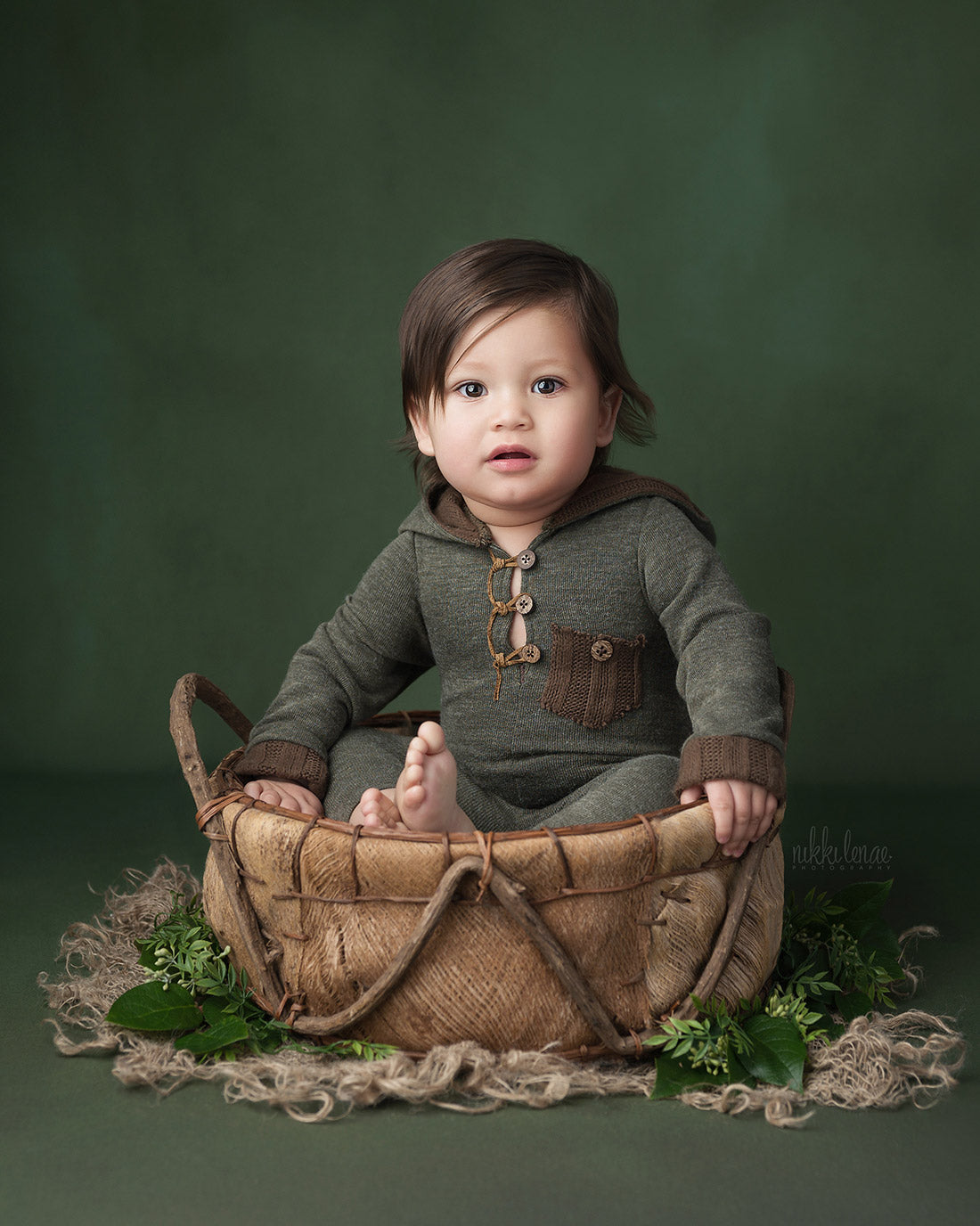 Newborn image with the deep woods backdrop from Intuition