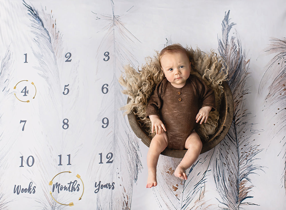 Intuition Backgrounds Golden Feathers milestone blanket