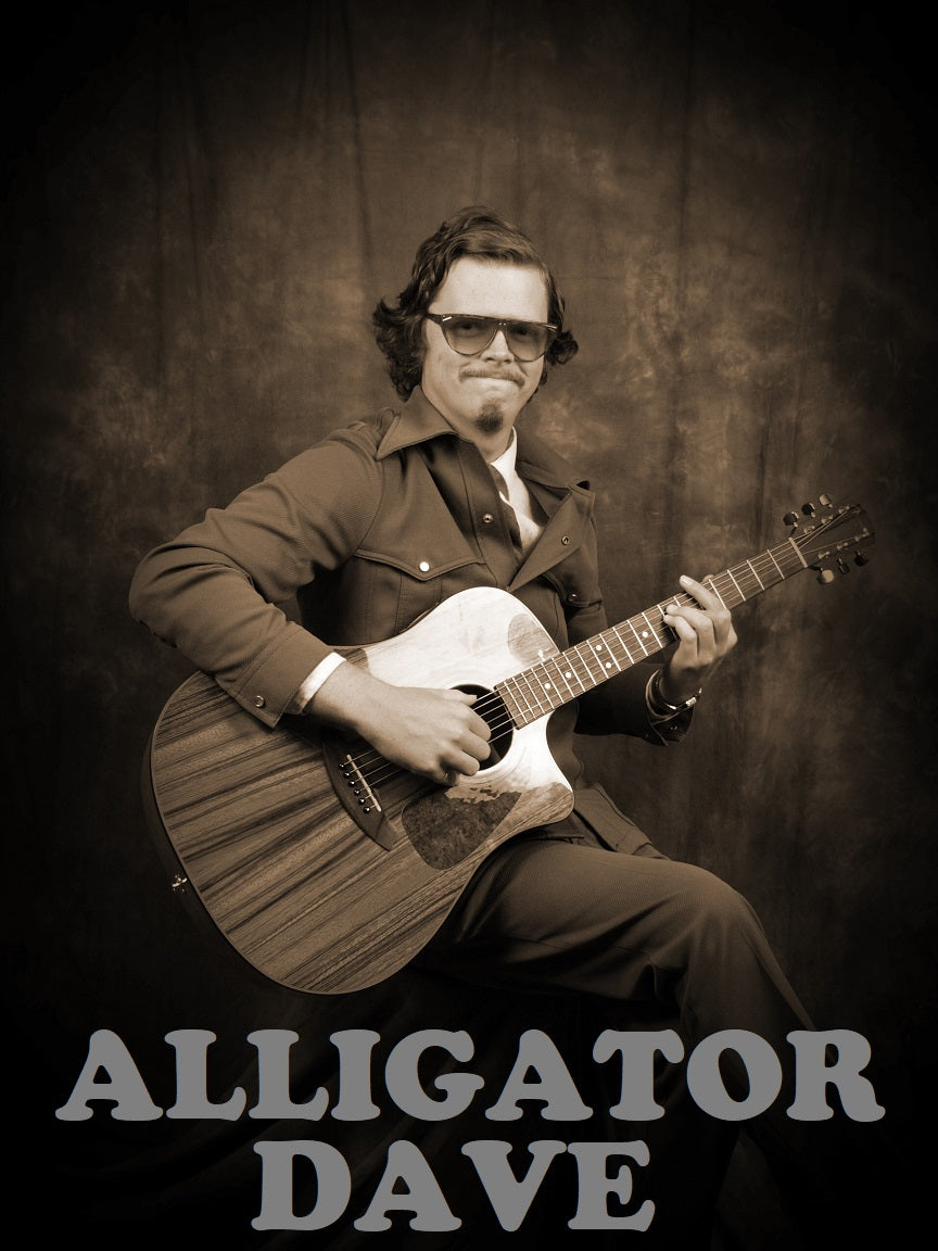 Alligator Dave Black and White Sticker