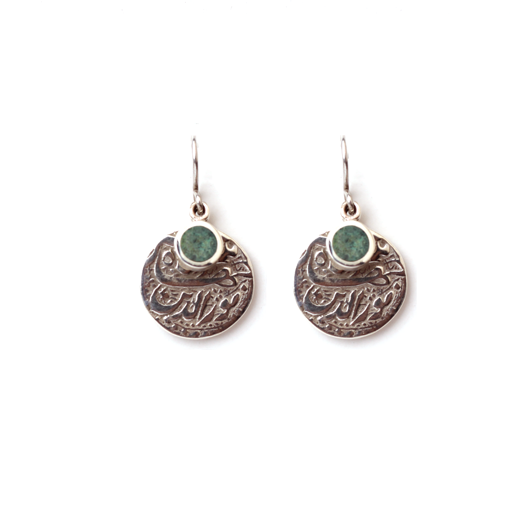 Mughal replica coin earrings in silver and green aventurine inlay-Pietra Dura