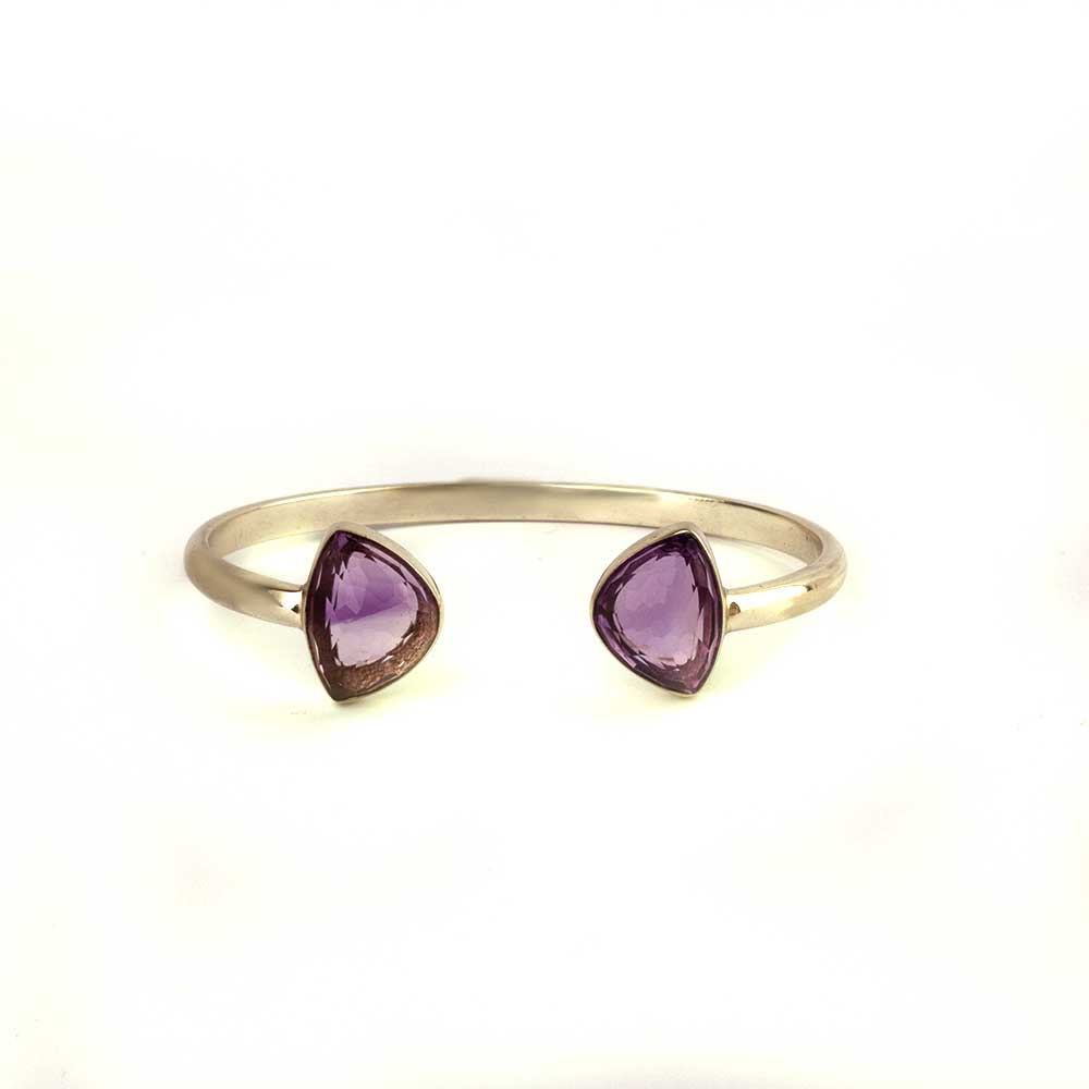 Gold plated silver cuff with fancy amethyst