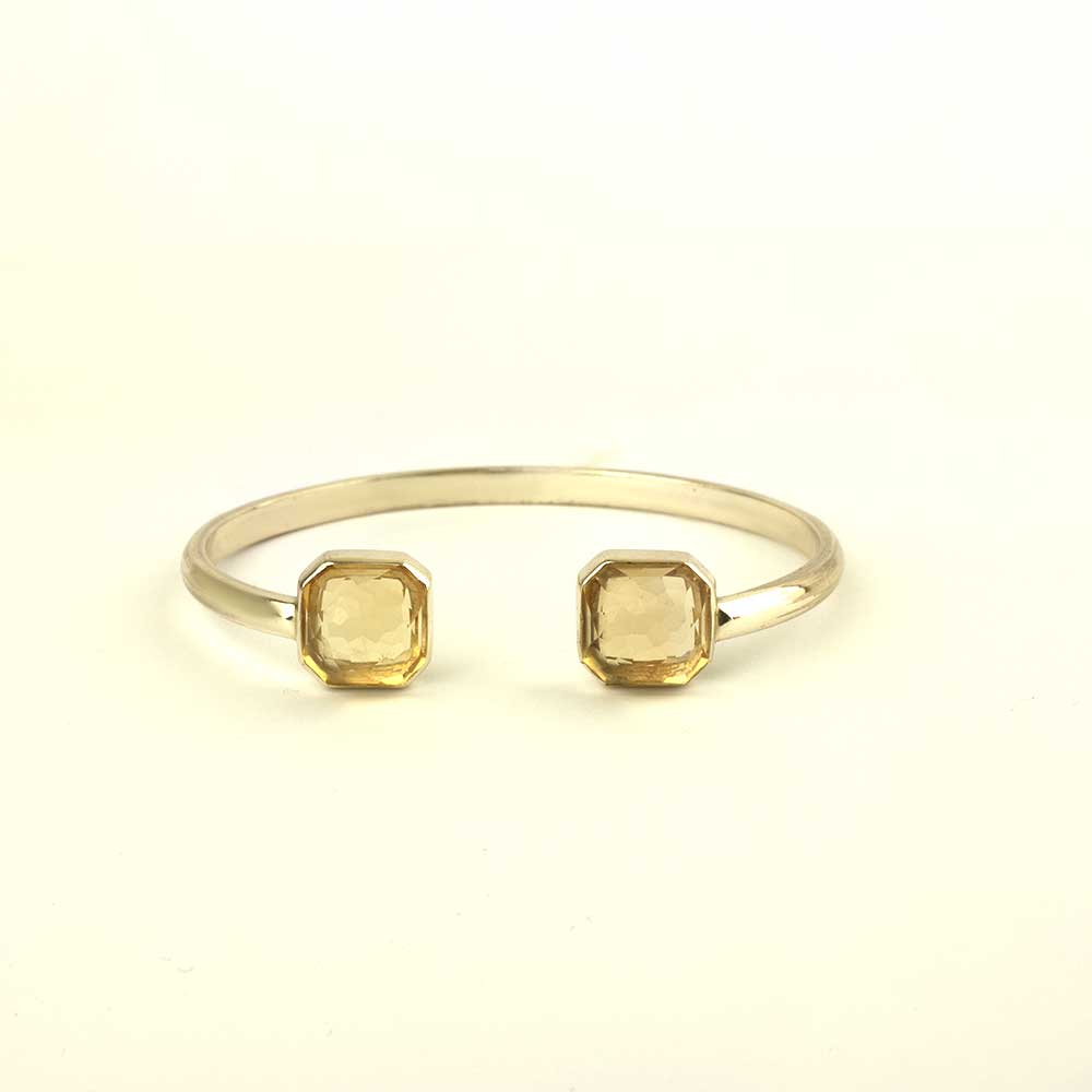 Gold plated silver cuff with fancy cut yellow citrine
