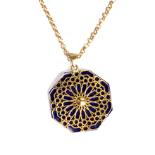 Load image into Gallery viewer, Geometric pattern natural lapis lazuli brass necklace