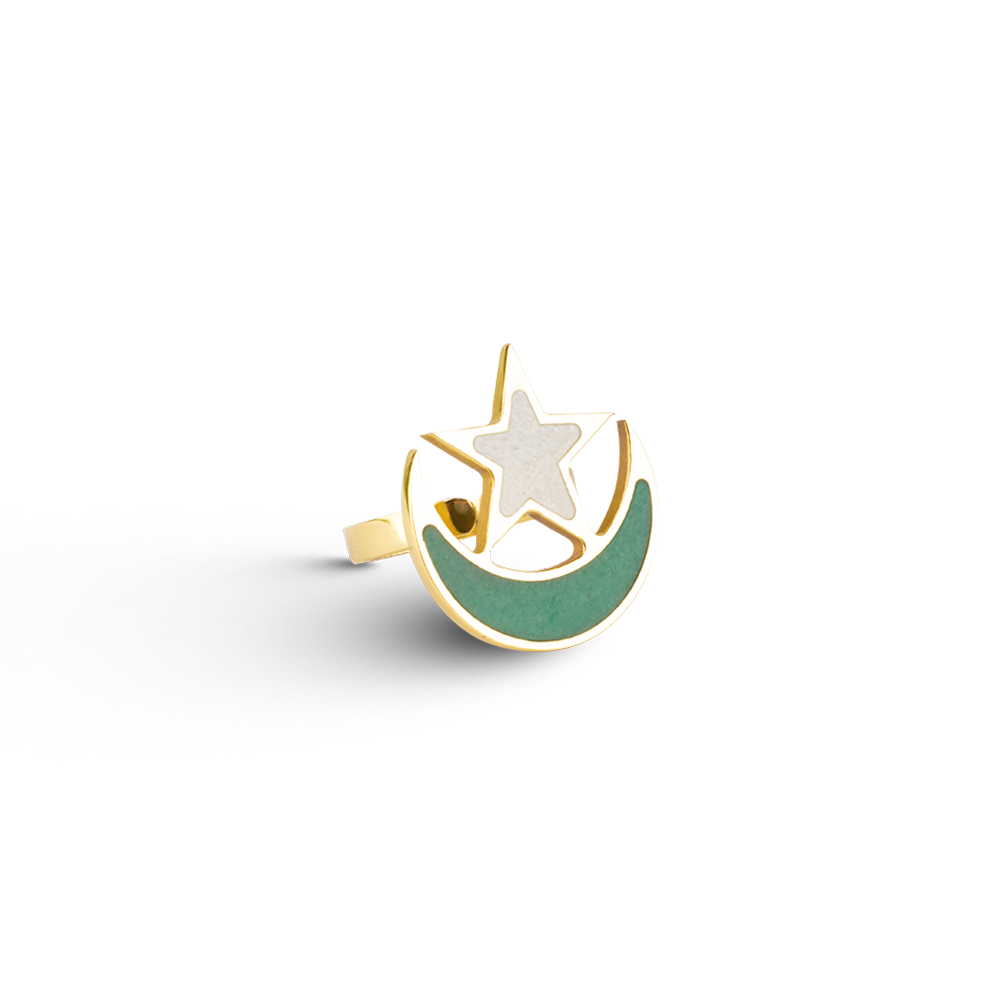 Adjustable pakistan flag ring with aventurine and marble inlay-Pietra dura