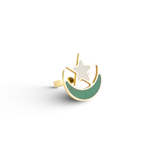 Load image into Gallery viewer, Adjustable pakistan flag ring with aventurine and marble inlay-Pietra dura