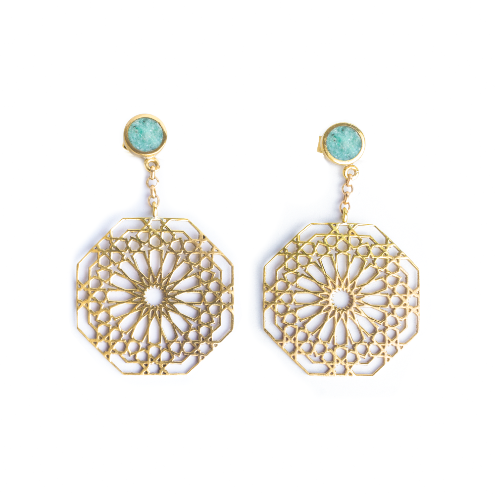 geometric pattern earrings with gemstones for women. amazonite stone