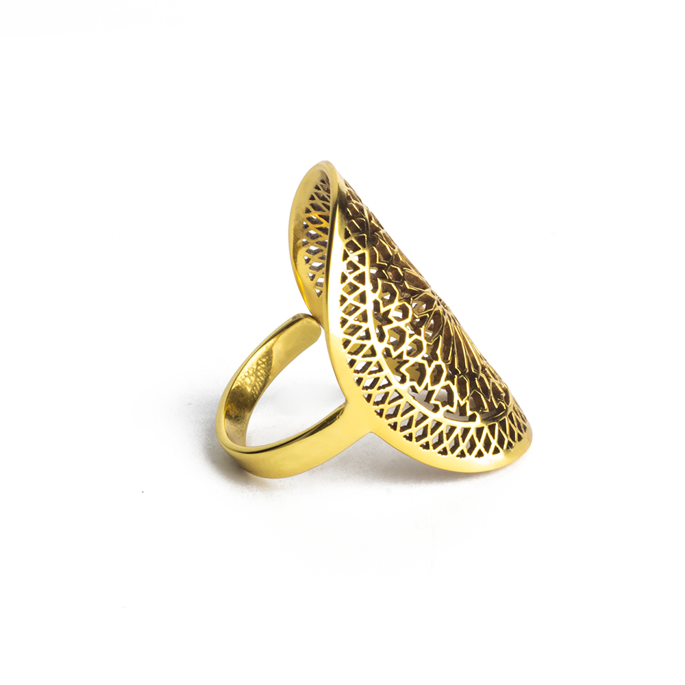 Side view of islamic geometric pattern brass ring for women