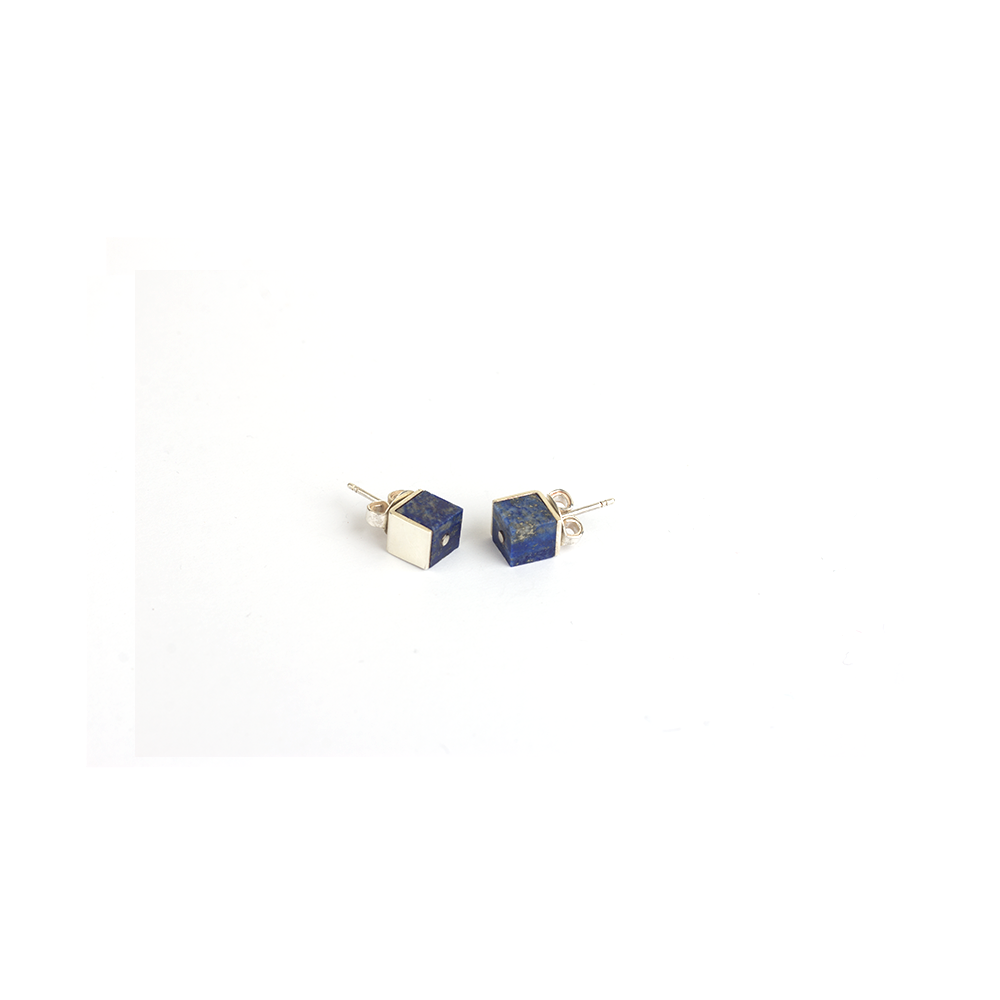 Silver earrings, square shaped lapis lazuli earrings