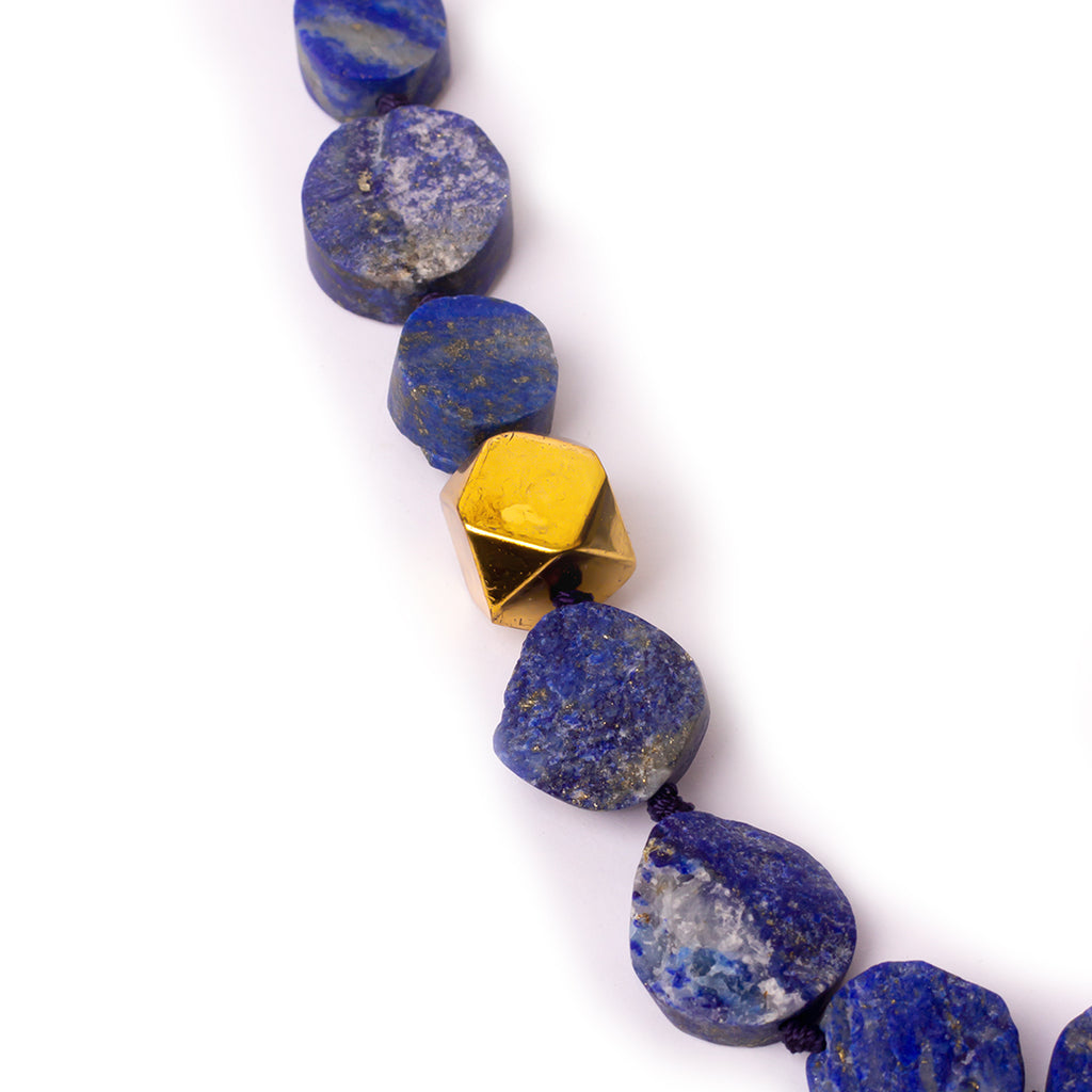 Gold plated silver necklace, lapis lazuli necklace