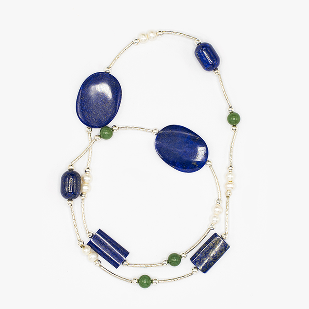 Handmade Silver Necklace| Natural Gemstone Necklace| Lapis Lazuli| Aventurine| Pearl