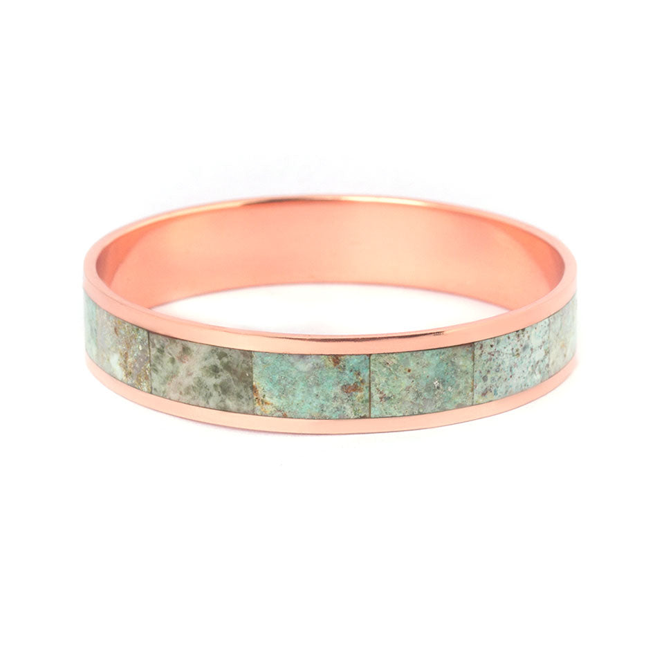 Copper bangle with chrysocolla inlay-Pietra Dura