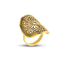 Load image into Gallery viewer, Islamic geometric pattern brass ring for women