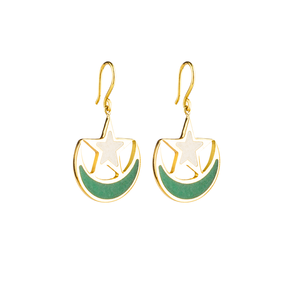 Pakistan flag earrings with aventurine and marble inlay-Pietra Dura