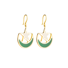 Load image into Gallery viewer, Pakistan flag earrings with aventurine and marble inlay-Pietra Dura
