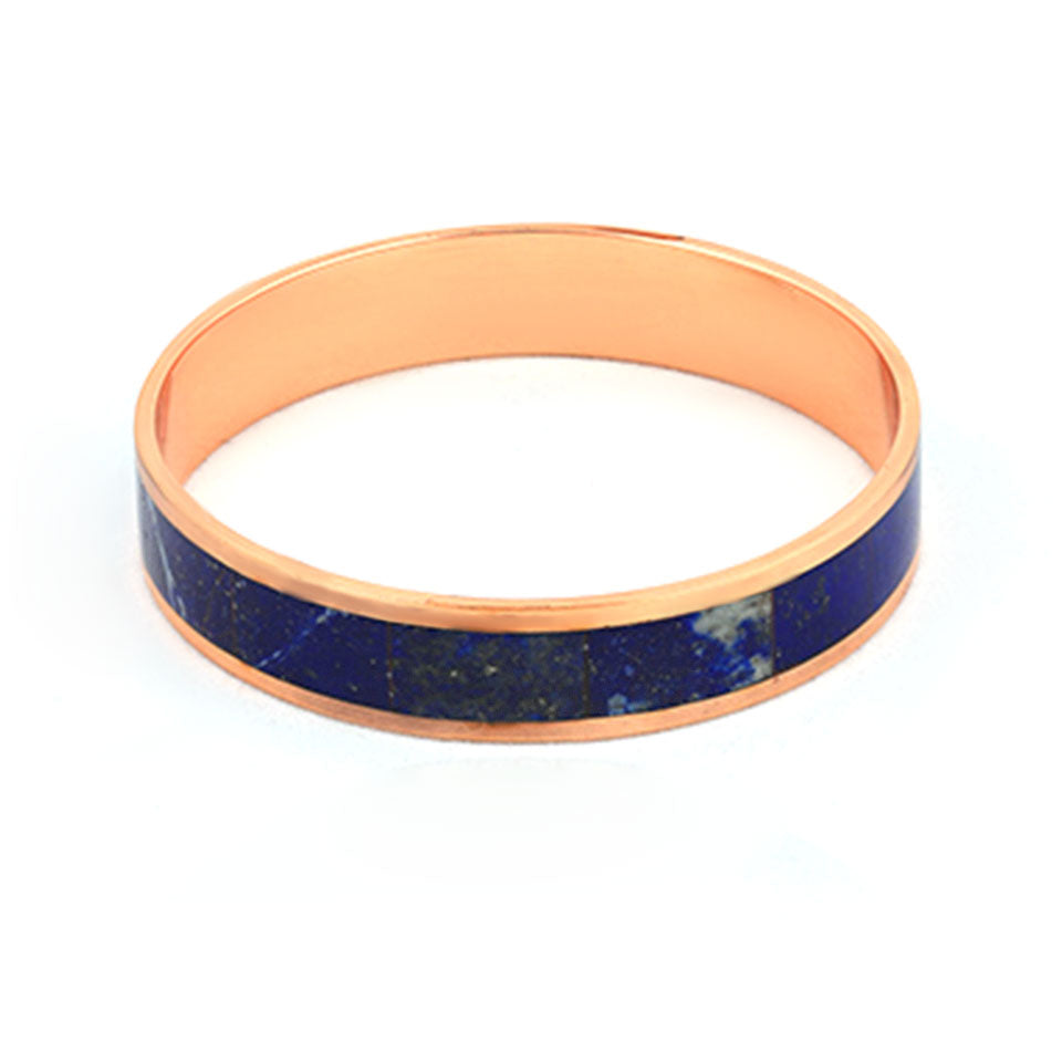 Copper bangle with  lapis lazuli inlay-Pietra Dura