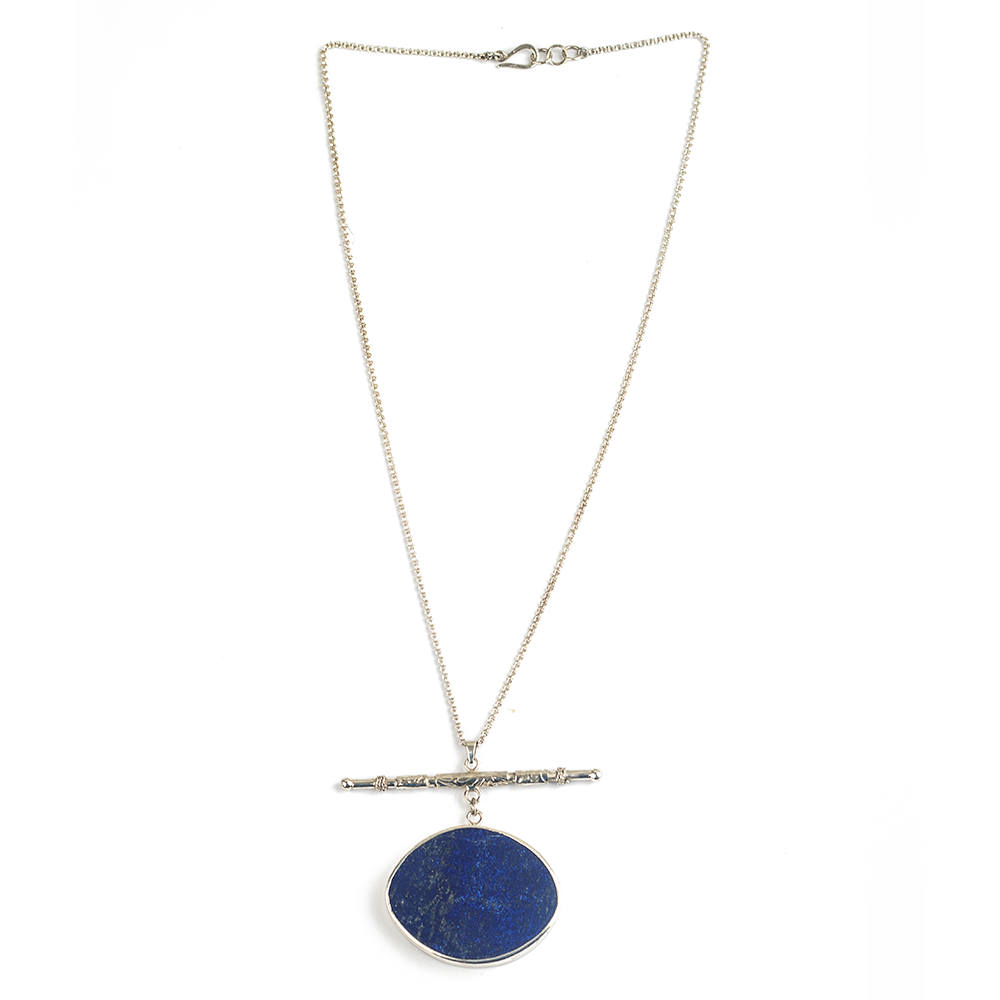 Silver gemstone necklace for women, lapis lazuli necklace