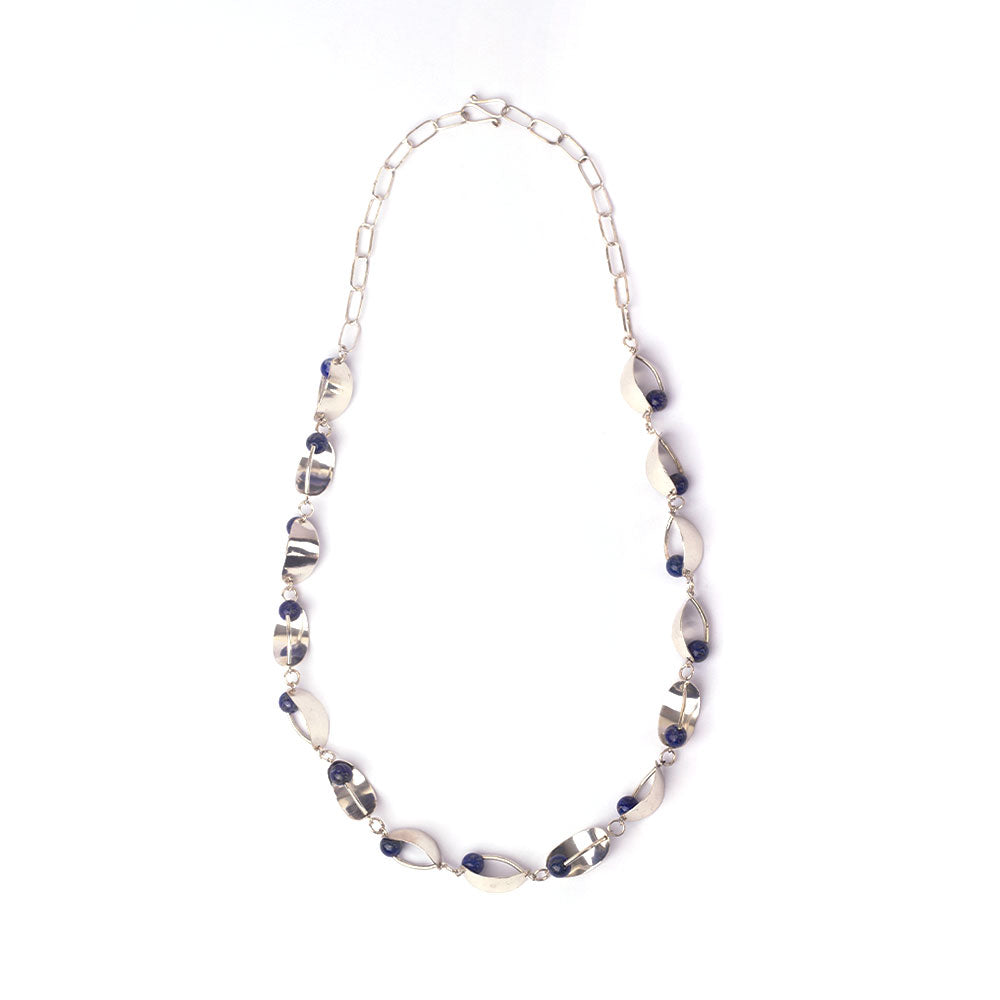 Silver necklace for women with lapis lazuli beads