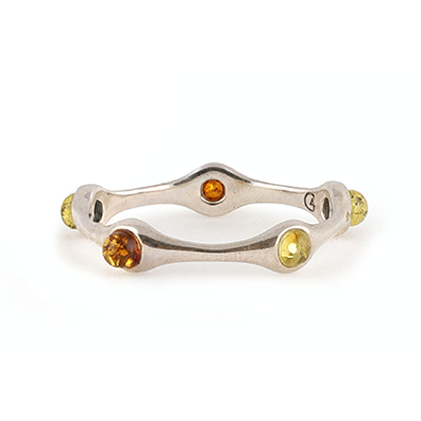 Silver baltic amber ring