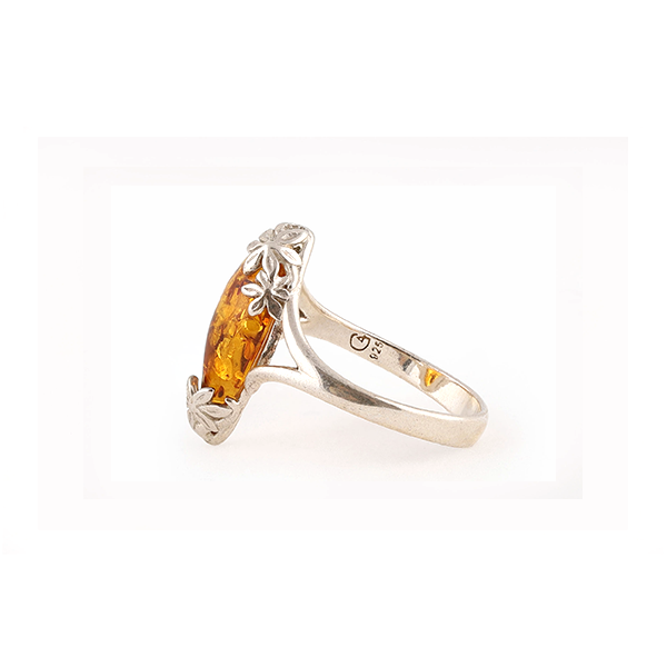 side view of Baltic amber silver ring