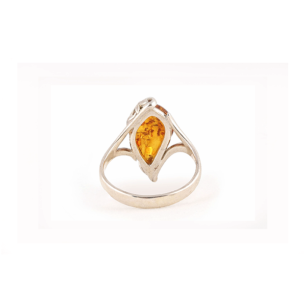 back view of baltic amber silver ring