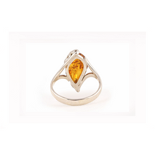 Load image into Gallery viewer, back view of baltic amber silver ring