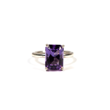 Load image into Gallery viewer, Handmade silver ring for women with natural amethyst