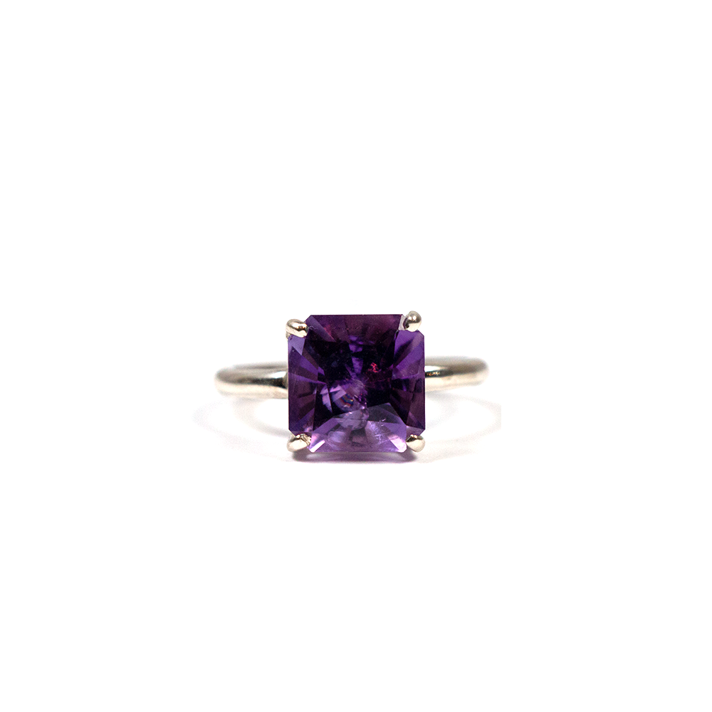Handmade silver ring for women with natural fancy square cut amethyst