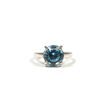 Load image into Gallery viewer, Handmade silver ring for women with fancy round cut blue topaz
