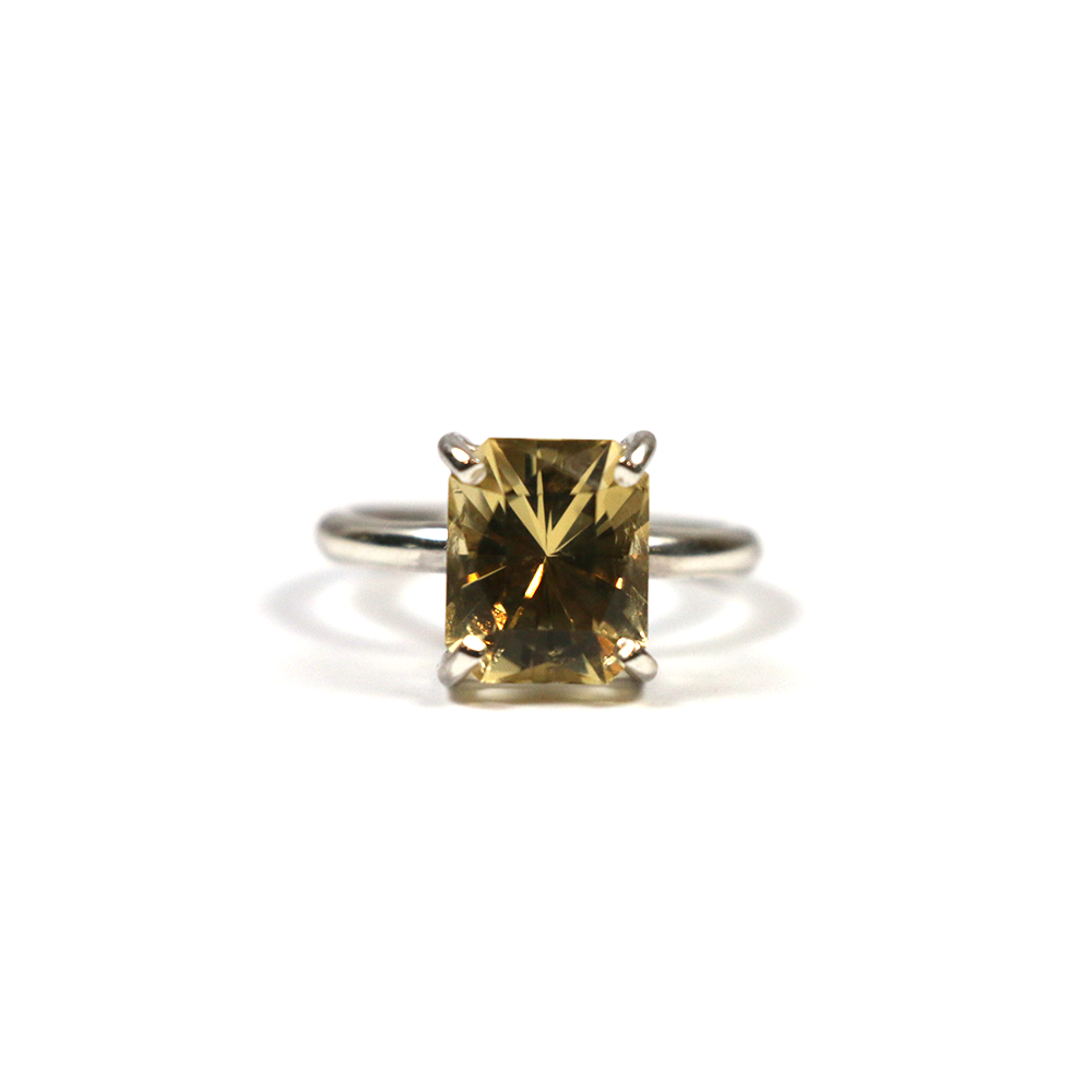 Handmade silver ring for women with fancy octagon cut citrine