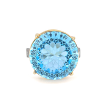 Load image into Gallery viewer, Islamic geometric pattern fancy cut gemstone ring, blue topaz, silver ring