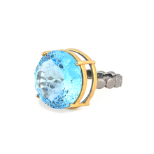 Load image into Gallery viewer, Side view of Islamic geometric pattern fancy cut gemstone ring, blue topaz, silver ring