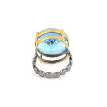 Load image into Gallery viewer, Back view of Islamic geometric pattern fancy cut gemstone ring, blue topaz, silver ring
