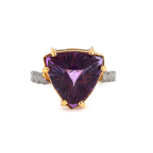 Load image into Gallery viewer, Fancy cut amethyst silver ring