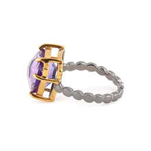 Load image into Gallery viewer, Side view of Fancy cut amethyst silver ring