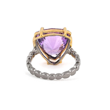 Load image into Gallery viewer, Back view  of Fancy cut amethyst silver ring