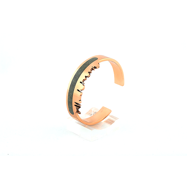 Pakistan skyline bangle with gemstone inlay, pietra dura , copper bangle