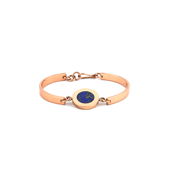 Copper bangle with natural lapis lazuli inlay