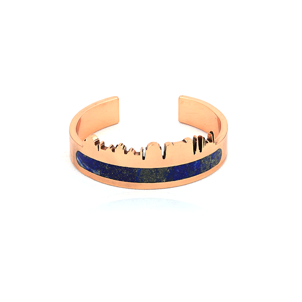 Pakistan skyline bangle with lapis lazuli inlay, pietra dura , copper bangle