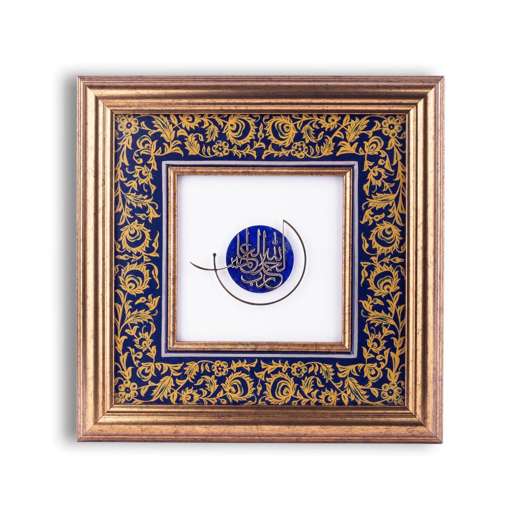 Hand painted wooden frames with gemstones, frames with gemstones, handcrafted frames , lapis lazuli frames