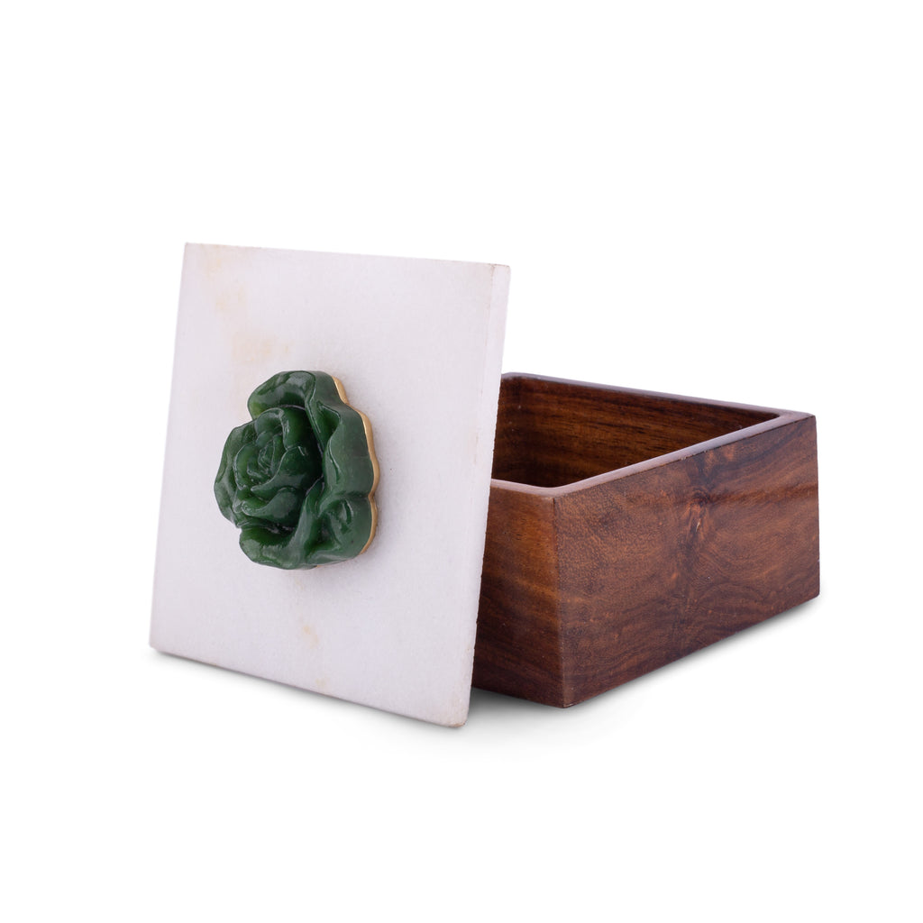 Jewellery box , naqashi with gemstones , handcrafted wooden box with marble and nephrite jade